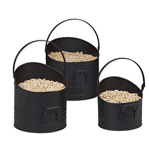 Relaxdays 10033837 Seau à pellets Jeu de 3, respectivement de 21, 25 et 30 cm, poignée et Anse Rabattable, en métal, Accessoire Noir, Lot de 3