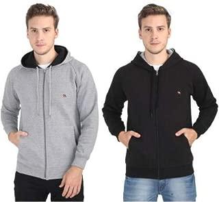 Quco Men's Cotton Fleece Hood Sweat Shirt Combo Pack of 2- (Black:G.Mel)
