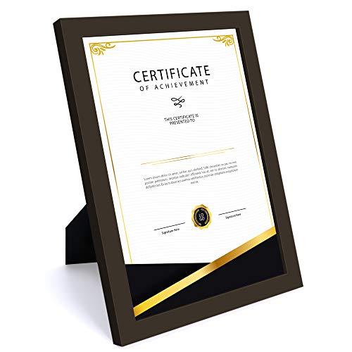Marco de fotos A4, de madera auténtica, cristal, 21 x 29,7 cm, para certificados, con 2 paspartú de 15 x 20 cm, 20 x 25 cm, marco de pared para fotos familiares con soporte de mesa, color marrón café