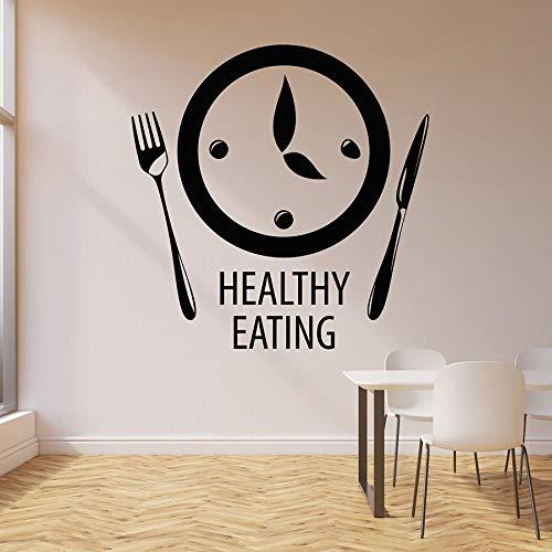 Etiqueta de la pared de alimentación saludable Reloj de palabras Hora de comer Cocina Restaurante Arte decorativo Puertas y ventanas Pegatinas de vinilo Mural creativo
