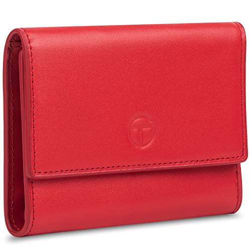 Womens Wallet RFID Blocking Leather, Small Women Credit Card Holder Mini Wallet with Zipper Pocket