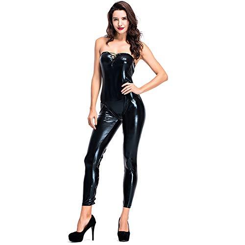 Catsuit Van Imitatieleer, Glanzende Jumpsuit met Lange Mouwloze Lederlook en Drievoudige Kruisrits Voor Dames en Heren,Black