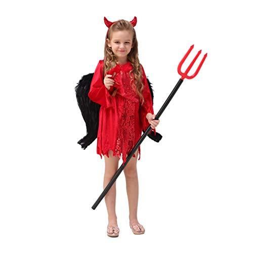 Disfraces para Niños Disfraces de Halloween para niños Disfraces De Halloween For Niños Ropa For Niñas Disfraces De Cuerno De Terror Demonio Demonio Rojo (Color : Red, Size : L)