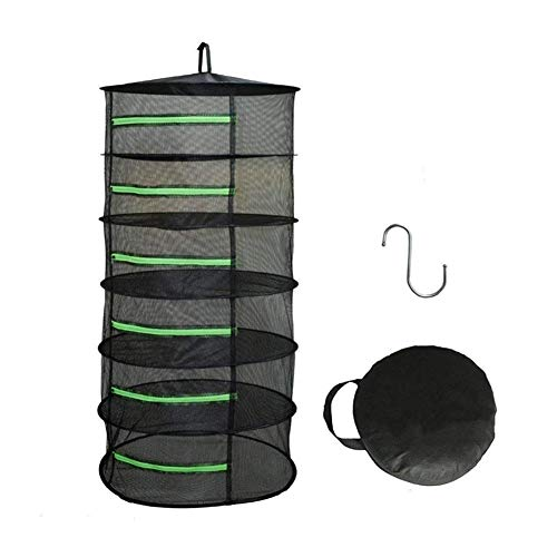 Hängekorb für Kräuter, zusammenklappbar, Netzstoff, zum Aufhängen, trockenes Netz, mit Reißverschlüssen, für Hydrokulturen, Schwarz