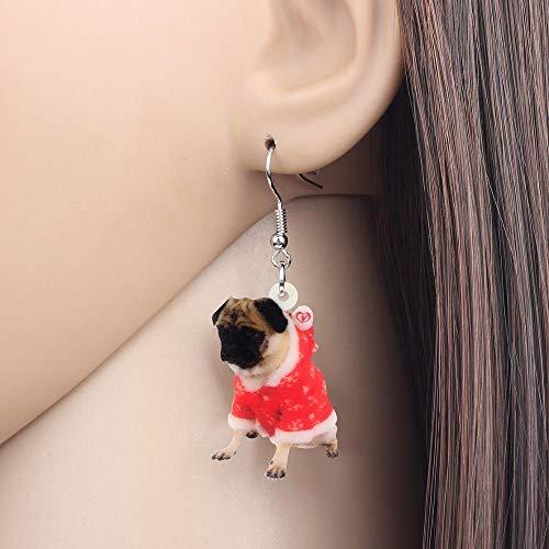 EHXWL Traje de acrílico de Navidad Vestido Pug Pendientes de Perro Drop...