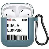 Estuche para Airpods 1 y 2 Boletos aéreos turísticos de Moda Estuches de impresión Auriculares Bluetooth Etiqueta de código de Barras de Tokio Houston Auriculares Cubierta de TPU-kddkuala2d