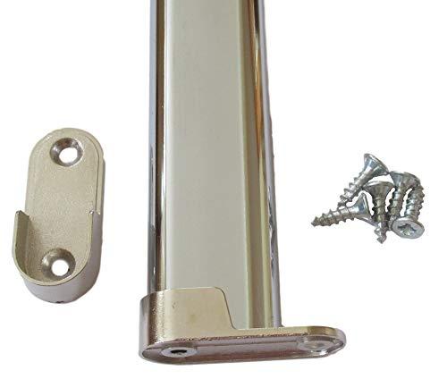 552mm KLEIDERSTANGE Ovalrohr mit Befestigungen/Halterungen + Schrauben für 60cm Kleiderschrank oder 30cm 40cm 50cm (1 oder 2 Sets) (1)