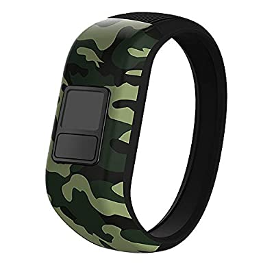iBREK for Garmin Vivofit jr/jr 2/3 Bands, Silicone Stretchy Replacement Watch Bands for Kids Boys Girls Small Large(No Tracker)-Small,Green Camo