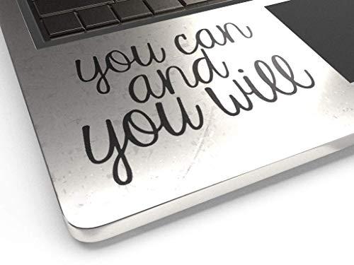 You Can You Will 3.5' Decal Vinyl Motivational Sticker Laptop Journal,Wall car (Matte Black)
