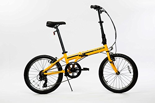 EuroMini ZiZZO Campo 28lb Lightweight Aluminum Frame Shimano 7-Speed Folding Bike 20-Inch (Yellow)