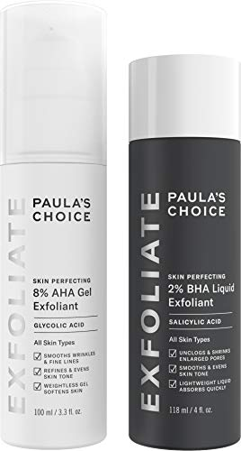 Paula's Choice-SKIN PERFECTING 8% AHA Gel Exfoliant & 2% BHA Liquid Duo-Facial Exfoliants for Blackheads Enlarged Pores Wrinkles and Fine Lines Face Exfoliators w/ Glycolic Acid Salicylic Acid