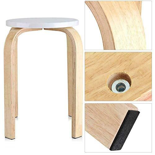 TANKE Taburete antideslizante de madera curvada apilable para el hogar, sala de estar, decoración de muebles de color blanco