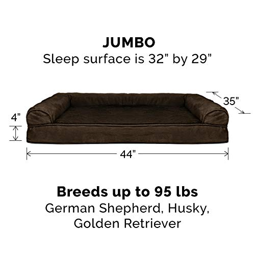 Furhaven Pet Dog Bed | Orthopedic Ultra Plush Faux Fur & Suede Traditional Sofa-Style Living Room Couch Pet Bed w/ Removable Cover for Dogs & Cats, Espresso, Jumbo