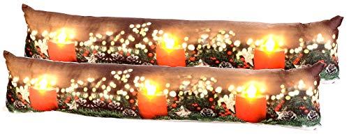 infactory Zugluftstopps: 2er-Set Zugluftstopper-Deko-Kissen, Kerzen-Motiv, 3 LEDs, 90 x 20 cm (Weihnachtskissen)