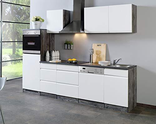 lifestyle4living Küche mit Elektrogeräten 280cm | Küchenzeile Küchenblock Einbauküche E-Geräte | Hochglanz Weiß/Eiche-Vintage