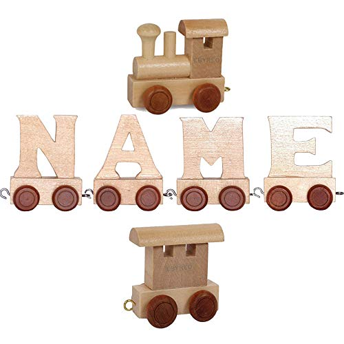 Buchstabenzug Namens-Set Lok + Emil + Endwaggon | EbyReo® Namenszug aus Holz | personalisierbar | Geschenk zur Geburt | Taufgeschenk | Geschenk zu Einschulung (Emil)