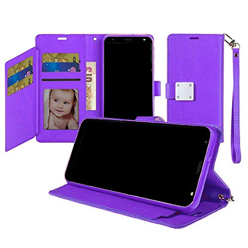 Wallet Magnetic Metal Snap Cover Case for Alcatel 3V (2019) 5032W + Gift Stand (Purple)