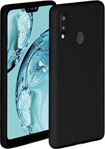 ONEFLOW Soft Case kompatibel mit Huawei P20 Lite Hülle aus Silikon, erhöhte Kante für Bildschirmschutz, zweilagig, weiche Handyhülle - matt Schwarz