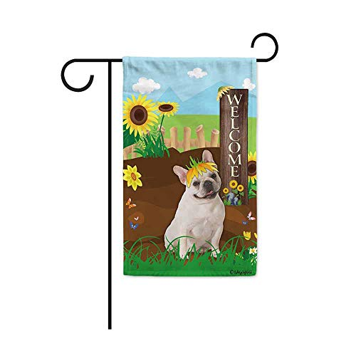 BAGEYOU Welcome Summer Sunflower Dog Garden Flag Cute French Bulldog Puppy Playing on a Country Farm Butterfly Flowers Decor Banner for Outside 12.5x18 Inch Print Double Sided