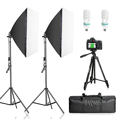 FUDESY Softbox Lighting Kit with Tripod, Photography 20 x28  Professional Soft Box Light Set, Photo Continuous Lighting Equipment with Bulbs for Video Recording, YouTube, Podcast Film