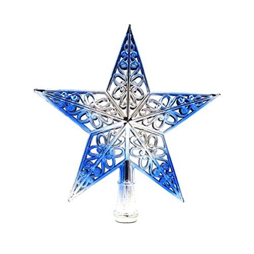 OULII Weihnachtsbaumspitze Stern Baumschmuck Glitzernde (Silbrig Blau)