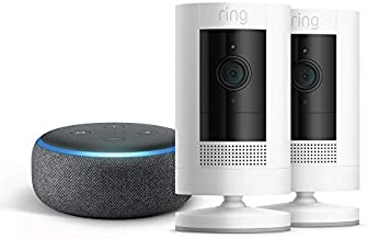 Ring Stick Up Cam Battery 2-Pack with Echo Dot (Charcoal)