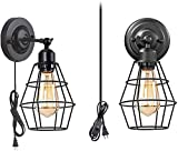 NBVCX Home Accessories Modern Simplicity 2-Piece Wall Lamp Chandelier Industrial Wall Lamp with Plug-In Cord and Switch Retro Style E26 Base Metal Wall Lamp Industrial Country Ceiling Lamp