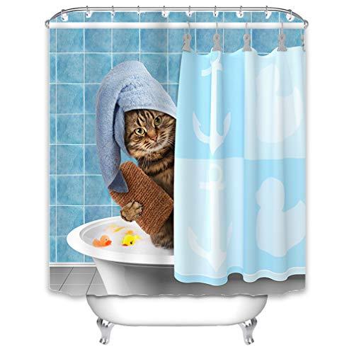 X-Labor Tier Duschvorhang 240x200cm Wasserdicht Stoff Anti-Schimmel inkl. 12 Duschvorhangringe Waschbar Badewannevorhang 180x180cm Motiv-A