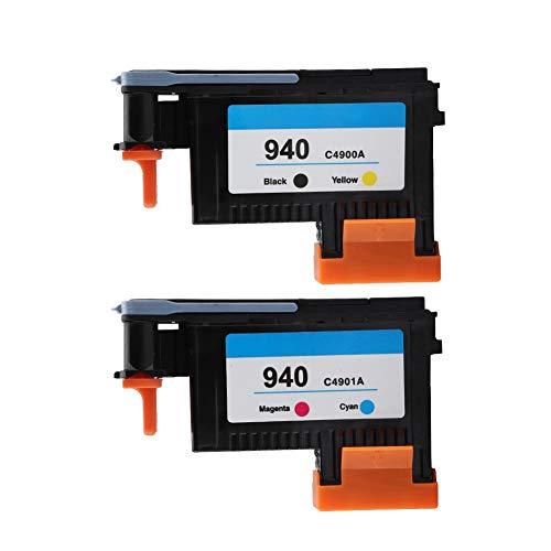 ASHATA Für HP 940 schwarz und gelb Druckkopf,Professionell Druckkopf Magenta und Cyan Printhead,Hochwertig Druckkopf Druckerpatrone für HP940 C4900A C4901A 8000 8500 Series(Magenta+Cyan+Schwarz+Gelb)