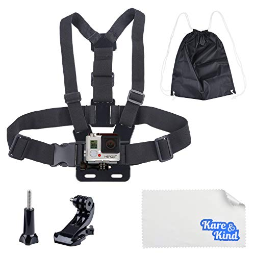 Kare & Kind Chest Mount Harness Compatibel met GoPro Hero7, Hero6, Hero5, Hero4, Hero Session, Zwart, Zilver, Hero+, LCD, Hero3+, 3, 2, 1 - Verstelbare borstband - voor Action Sports en Outdoor