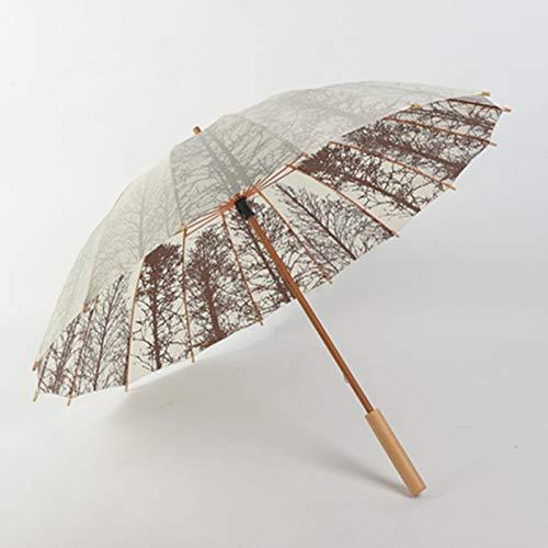 TONGS 16K Solide Holz Griff Gerade Pole Lange Griff Regenschirm Retro Literarisch Ventilator Dual-Use Regenschirm Draussen Vorräte Gemütlich Griff / A4 / 103x8