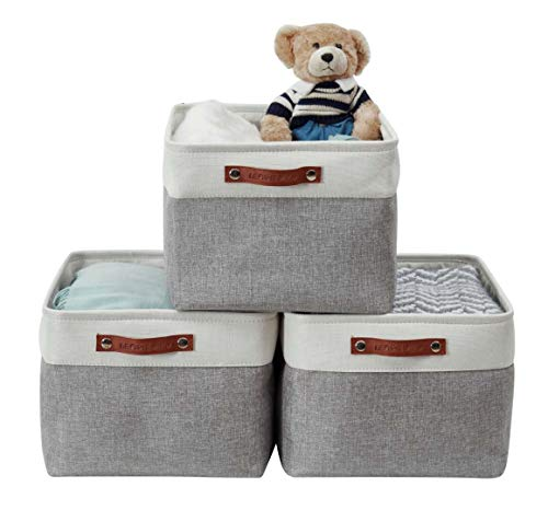 DECOMOMO Foldable Storage Bin | Collapsible Sturdy Cationic Fabric Storage Basket Cube W/Handles for Organizing Shelf Nursery Home Closet (Grey and White, Extra Large - 15.8 x 12.5 x 10-3 Pack)