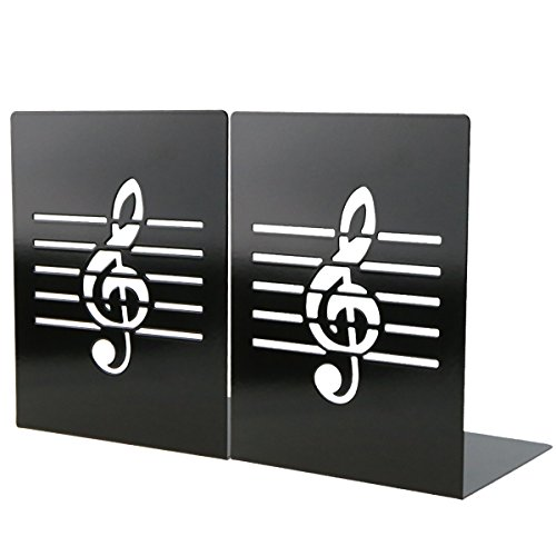 Unique Music Notes Book Stands Metal Bookends for Kids School Library Desk Study Home Office Decoration Gift(Black)