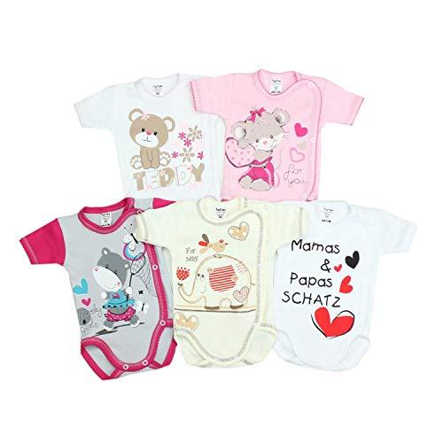 TupTam Unisex Baby Kurzarm Wickelbody mit Spruch 5er Pack, Farbe: Mädchen, Größe: 62