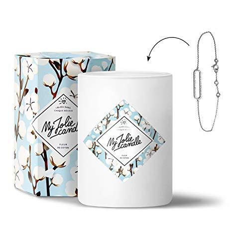 MY JOLIE CANDLE - Bougie parfumée avec Bijou Suprise à l'intérieur - Bijou : Bracelet en Argent - Parfum : Fleur de Coton - Cire Naturelle végétale - 330g - 70h Combustion