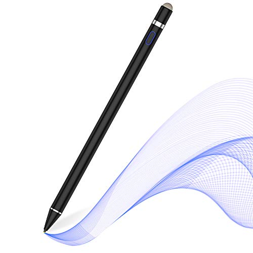 MPIO Active Stylus Pen for Touch Screens, Rechargeable Digital Pencil for iPads/Tablets/iPhones/Samsung/Lenovo/LG/HTC, for precise writing/drawing Black