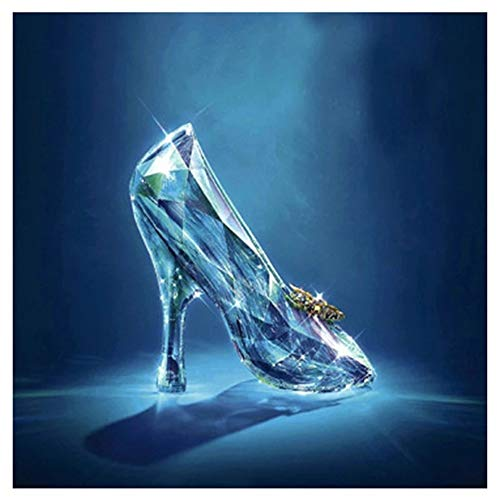 DIY 5D Diamond Painting by Number Kits Crystal Shoes Large Size Adult Diamond Art Full Drill Crystal Rhinestone Embroidery Cross Stitch Arts Craft Pasted Canvas Home Wall Decor Gift 100x100cm