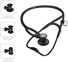 MDF Sprague-X Redesigned Sprague Rappaport Stethoscope with Adult, Pediatric, and Infant convertible chestpiece - Free-Parts-for-Life & Lifetime Warranty - All Black (MDF767X-BO)