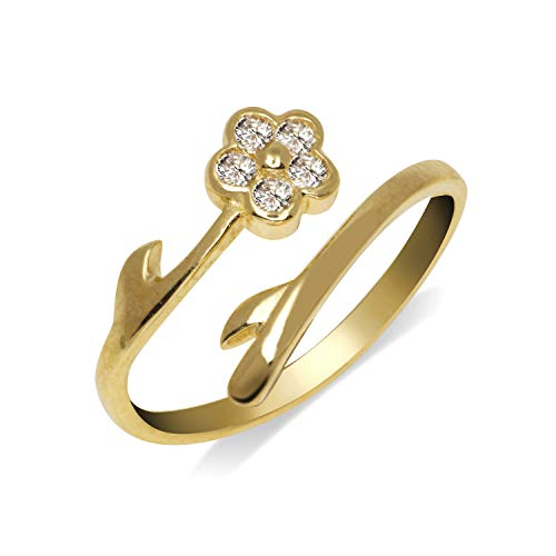 JewelryWeb Solid 10K Gold Elegant Flower Bypass Cubic Zirconia CZ Adjustable Toe Ring for Women Gold (8mmx15mm) (Yellow-Gold)