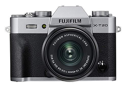 """Fujifilm X-T20 Silver Fotocamera Digitale 24MP con Obiettivo XC15-45mm F3.5-5.6 OIS PZ, Sensore CMOS X-Trans III APS-C, Mirino EVF, Schermo LCD Touchscreen 3"""" Orientabile, Filmati 4K, Argento"""