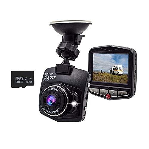 Vehículo Dash CAMS Full HD 1080p, Cámara de cámaras Dash en la cámara de tablero de automóviles con auriculares Bluetooth, con tarjeta SD de 16 GB incluida grabación de bucle G-Sensor (Color: Azul) YX