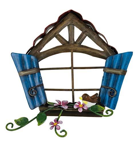 World of Make Believe Fountasia Feenfenster mit blauen Holzläden, Metall, ideal für Feengärten