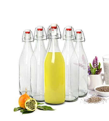 Sendez 2 Glasflaschen mit Bügelverschluss 1 Liter Trinkflasche Ölflasche Flasche 1000ml