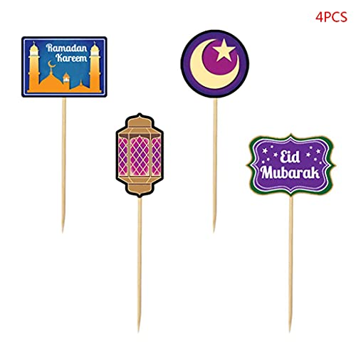 LLKK Ramadan Eid Mubarak - Juego de decoraciones para tartas y tarjetas de extracción de flores de Oriente Medio Kareem para el hogar