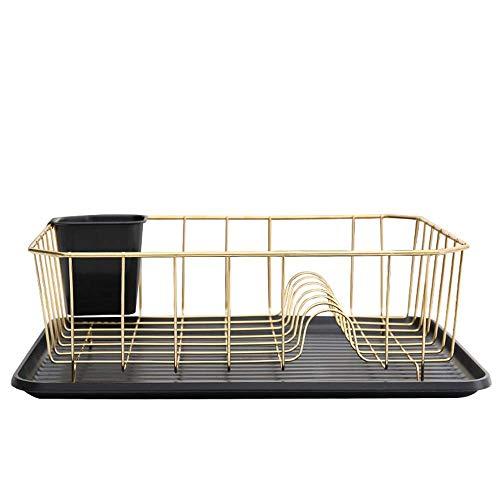 HYY-YY Drain Rack roestvrij staal afdruiprek Met Plastic lekbak en het Houder van het Werktuig Gold afdruiprek (Goud, Maat: 36.7x31.7x14.5cm)