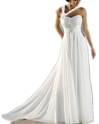 YASIOU Brautkleid Damen Lang Weiß A Linie Sexy Chiffon Strand mit Corsage Hochzeitskleid