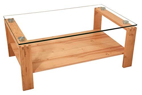 Nelson318 Couchtisch Massivholz mit furnierter Ablage. Hochwertige Zinkenverbindung und 12mm Starke Glasplatte. Höhe: 50cm Klarglas Größe: 120 x 73 cm Rechteckig Wildeiche