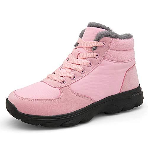 UBFEN Botas de Nieve para Mujer Botas de Senderismo Invierno Impermeable Calzado Zapatos de Ocio al Aire Libre y Deportes Zapatillas Antideslizantes cálido Confortables 38 EU T/Rosa