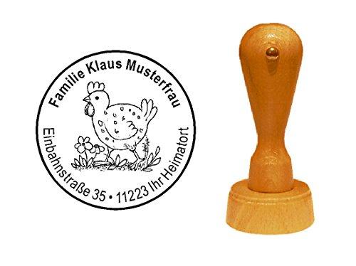 Stempel Motivstempel « HUHN VINTAGE » Durchmesser ca. Ø 40 mm - mit persönlicher Adresse und Motiv - Bauernhof Henne Bauer Ei Farmer