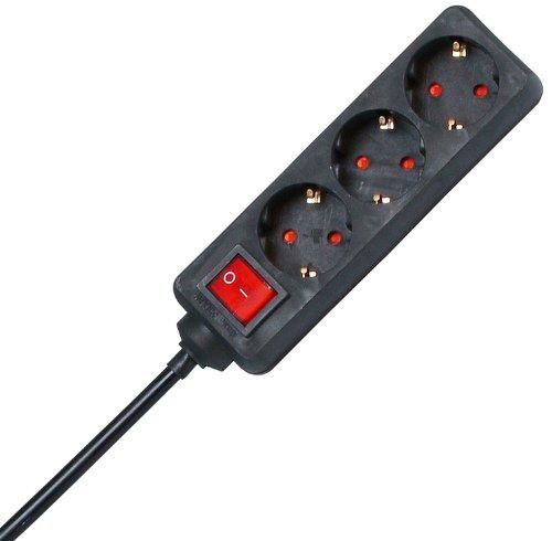 Kopp 129715009 Steckdosenleiste 3-fach mit beleuchtetem Schalter schwarz